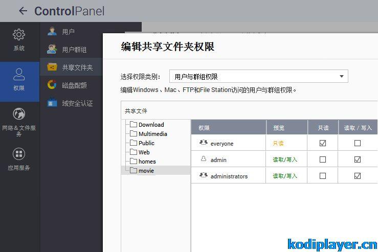 群晖、威联通NAS开启NFS 设置共享文件夹作为Kodi视频源
